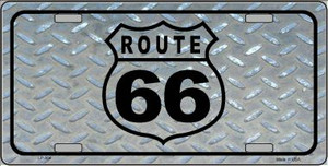Route 66 Shield Diamond Wholesale Metal License Plate