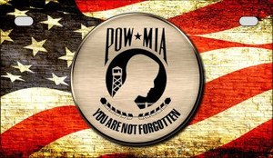 POW MIA With USA Flag Wholesale Novelty Metal Motorcycle Plate MP-8641