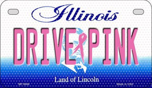 Drive Pink Illinois Wholesale Novelty Metal Motorcycle Plate MP-9648