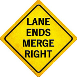 Ends Merge Right Wholesale Novelty Metal Crossing Sign