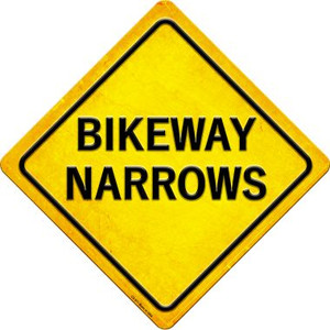 Bikeway Narrows Wholesale Novelty Metal Crossing Sign CX-571