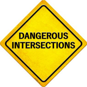 Dangerous Intersections Wholesale Novelty Metal Crossing Sign CX-579