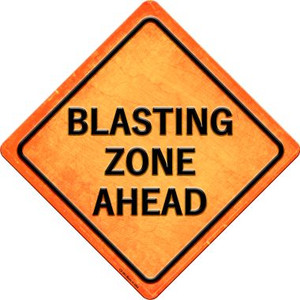 Blasting Zone Ahead Wholesale Novelty Metal Crossing Sign CX-583