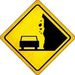 Falling Rocks Car Wholesale Novelty Metal Crossing Sign