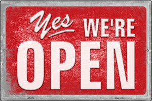 Yes We're Open Wholesale Novelty Metal Large Parking Sign LGP-2713