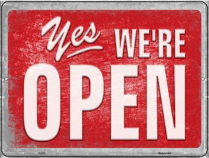 Yes We're Open Wholesale Novelty Metal Parking Sign P-2713