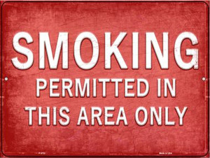 Smoking Permitted in This Area Only Wholesale Novelty Metal Parking Sign P-2722