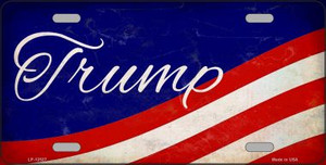 Trump on Waving Flag Wholesale Novelty Metal License Plate LP-12527