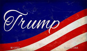 Trump on Waving Flag Wholesale Novelty Metal Magnet M-12527