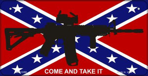 Come and Take It Confederate Flag Wholesale Novelty Metal Bicycle Plate BP-12490
