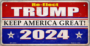 Re-Elect Trump 2024 Wholesale Novelty Metal Bicycle Plate BP-12515