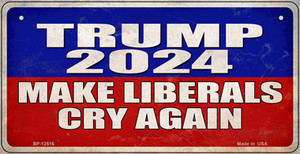 Trump Make Liberals Cry Again Wholesale Novelty Metal Bicycle Plate BP-12516