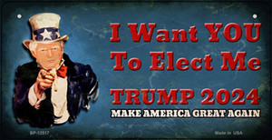 I Want You to Elect Me Trump 2024 Wholesale Novelty Metal Bicycle Plate BP-12517