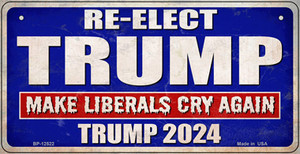 Re-Elect Trump 2024 Wholesale Novelty Metal Bicycle Plate BP-12522