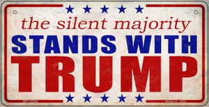 Silent Majority Stands with Trump Wholesale Novelty Metal Bicycle Plate BP-12530