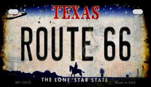Route 66 Texas Wholesale Novelty Metal Motorcycle Plate MP-12510