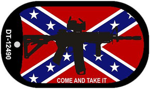 Come and Take It Confederate Flag Wholesale Novelty Metal Dog Tag Necklace DT-12490