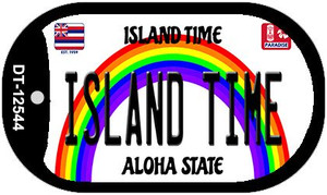 Island Time Hawaii Wholesale Novelty Metal Dog Tag Necklace DT-12544