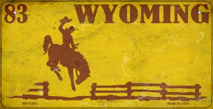 Wyoming Yellow Rusty Wholesale Novelty Metal Bicycle Plate BP-11933
