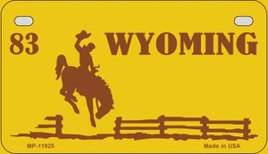 Wyoming Yellow Wholesale Novelty Metal Motorcycle Plate MP-11925