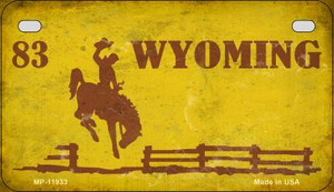 Wyoming Yellow Rusty Wholesale Novelty Metal Motorcycle Plate MP-11933