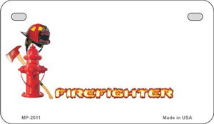 Firefighter Offset Wholesale Novelty Metal Motorcycle Plate MP-2011