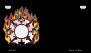 Fire Maltese Cross Offset Wholesale Novelty Metal Motorcycle Plate MP-2321