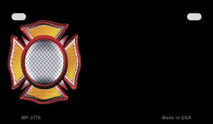 Fire Maltese Cross Offset Wholesale Novelty Metal Motorcycle Plate MP-3776