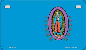 Virgin Mary Blue Offset Wholesale Novelty Metal Motorcycle Plate MP-4188