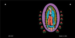 Virgin Mary Black Offset Wholesale Novelty Metal Bicycle Plate BP-4187