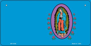 Virgin Mary Blue Offset Wholesale Novelty Metal Bicycle Plate BP-4188
