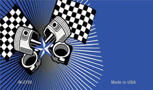 Pistons Checkered Flags Offset Wholesale Novelty Metal Magnet M-2350