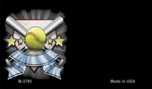 Softball Banner Offset Wholesale Novelty Metal Magnet M-3795