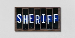 Sheriff Police Thin Blue Line Wholesale Novelty Colored Strips Wood Sign WS-597