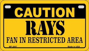 Caution Rays Fan Area Wholesale Novelty Metal Motorcycle Plate MP-2647