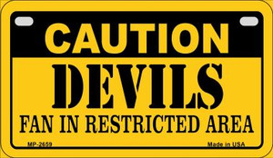 Caution Devils Fan Area Wholesale Novelty Metal Motorcycle Plate MP-2659
