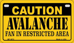Caution Avalanche Fan Area Wholesale Novelty Metal Motorcycle Plate MP-2672