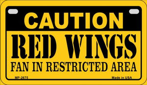 Caution Red Wings Fan Area Wholesale Novelty Metal Motorcycle Plate MP-2675