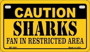 Caution Sharks Fan Area Wholesale Novelty Metal Motorcycle Plate MP-2681
