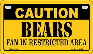 Caution Bears Fan Area Wholesale Novelty Metal Motorcycle Plate MP-2530