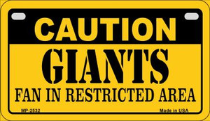Caution Giants Fan Area Wholesale Novelty Metal Motorcycle Plate MP-2532