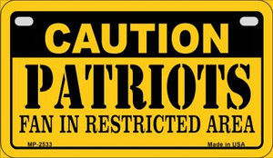 Caution Patriots Fan Area Wholesale Novelty Metal Motorcycle Plate MP-2533