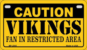 Caution Vikings Fan Area Wholesale Novelty Metal Motorcycle Plate MP-2545