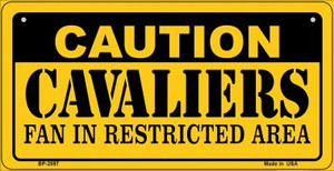 Caution Cavaliers Fan Area Wholesale Novelty Metal Bicycle Plate BP-2597