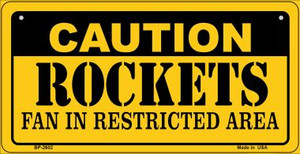 Caution Rockets Fan Area Wholesale Novelty Metal Bicycle Plate BP-2602