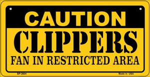 Caution Clippers Fan Area Wholesale Novelty Metal Bicycle Plate BP-2604