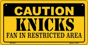 Caution Knicks Fan Area Wholesale Novelty Metal Bicycle Plate BP-2612