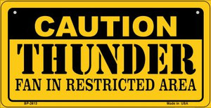Caution Thunder Fan Area Wholesale Novelty Metal Bicycle Plate BP-2613