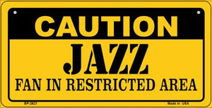 Caution Jazz Fan Area Wholesale Novelty Metal Bicycle Plate BP-2621