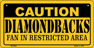 Caution Diamondbacks Fan Area Wholesale Novelty Metal Bicycle Plate BP-2624